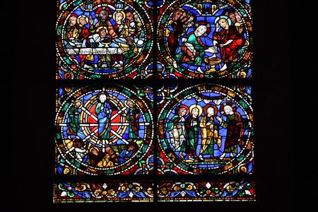 stained glass window of Chartres cathedral - France 写真素材 - 124990333