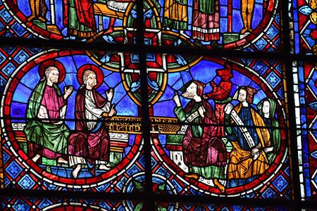 stained glass window of Chartres cathedral - France 写真素材 - 124990251