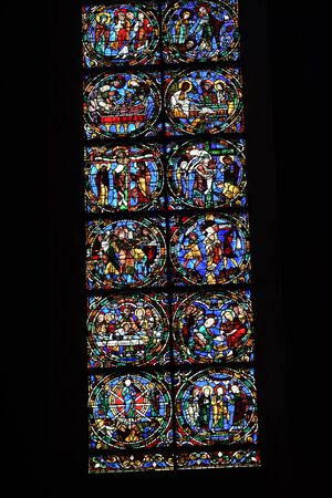 stained glass window of Chartres cathedral - France 写真素材 - 124990252