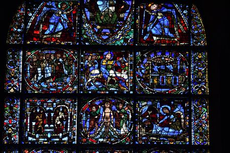 stained glass window of Chartres cathedral - France 写真素材 - 124990253