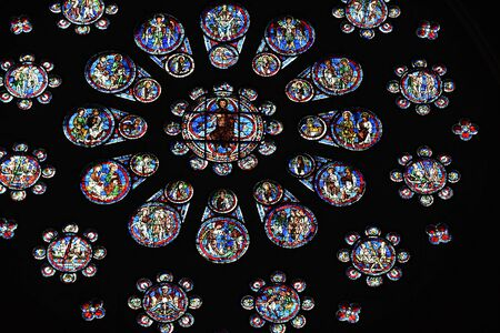 stained glass window of Chartres cathedral - France 写真素材 - 124990254