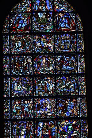 stained glass window of Chartres cathedral - France 写真素材 - 124990255