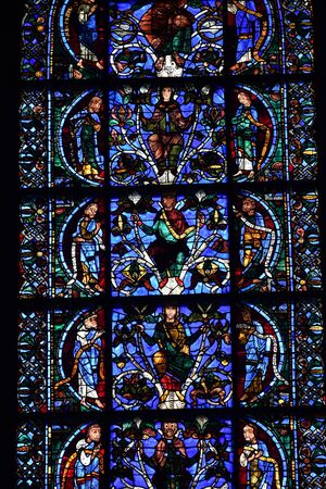 stained glass window of Chartres cathedral - France 写真素材 - 124990256