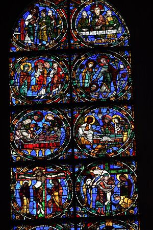 stained glass window of Chartres cathedral - France 写真素材 - 124990258