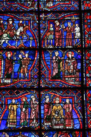 stained glass window of Chartres cathedral - France 写真素材 - 124990259