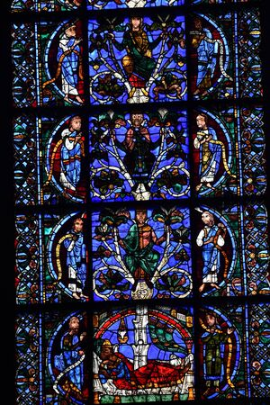 stained glass window of Chartres cathedral - France 写真素材 - 124990260