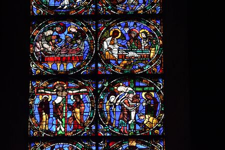 stained glass window of Chartres cathedral - France 写真素材 - 124990261