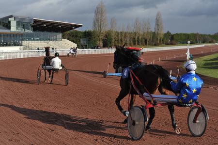 horse race in sulky Stockfoto - 124999228