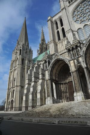 south facade of Chartres cathedral - France