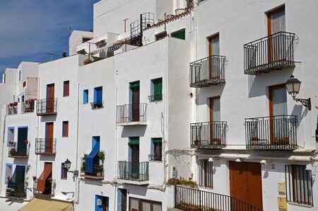 facades of buildings in the old town of Peniscola -Spain Stock Photo