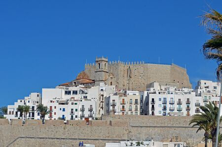 view of the castle and the old town of Peniscola-Spain