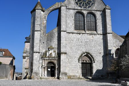 west facade of the Saint-Aignan church in Chartres-France