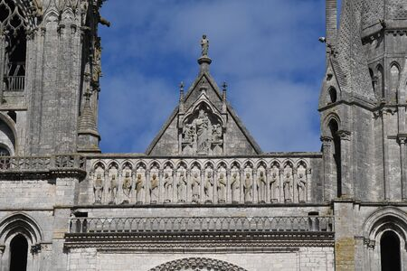 detail of the west facade of Chartres Cathedral - France