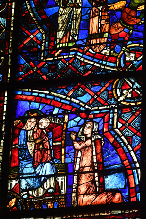 stained glass window of the cathedral of Chartres -France Redactioneel