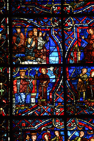 stained glass window of the cathedral of Chartres -France Stockfoto - 129583698
