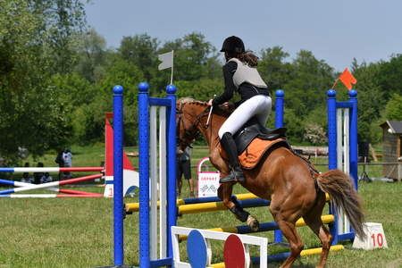 jumping in a horse show Stockfoto - 129583705