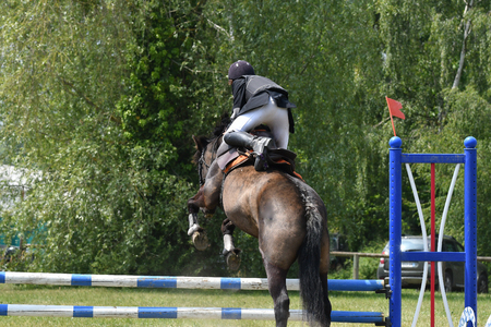 jumping in a horse show Stockfoto - 129583709