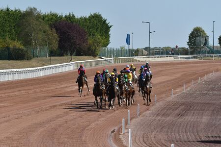 horse race trot mounted