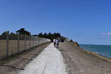 cyclists on a bike path by the sea 版權商用圖片 - 134709086