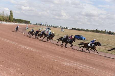 mounted trotting horse race