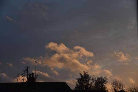 sunset over the city Stockfoto