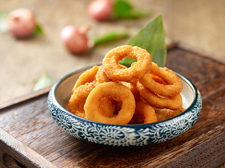Fried squid rings in texture bowl