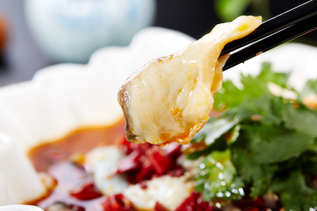 Boiled fish with bean sprouts in hot chili oil