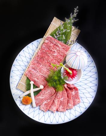 Premium kobe beef in a ceramic dish