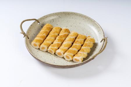 Fish roe stick in a ceramic dish