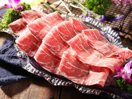 Sliced fresh beef on plate