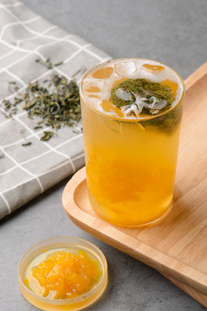 Pineapple fruit tea in a  glass