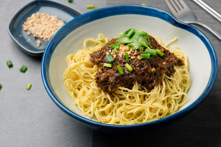 noodles with beef jerky with garlic