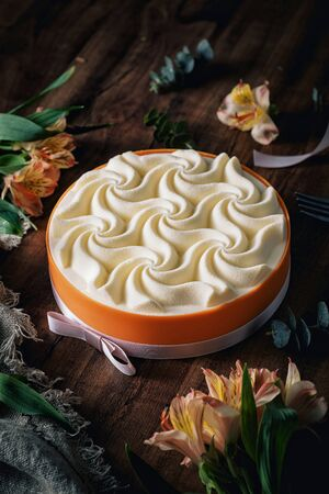Cream cake with wave pattern  on it Archivio Fotografico - 130326115