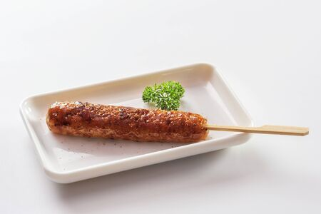 Grilled teriyaki chicken kebab in a white ceramic dish Archivio Fotografico