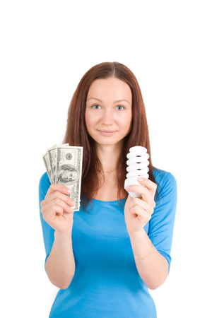 girl with bulb and dollars isolated photo