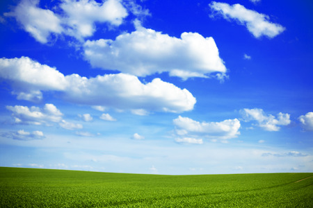 green field: Beneath the light dusting of clouds in a crystal clear, cool-blue sky, an  meadow stretches out across a seemingly endless landscape of gentle hills. The grass is lush and vibrantly colored in several striking shades of green.