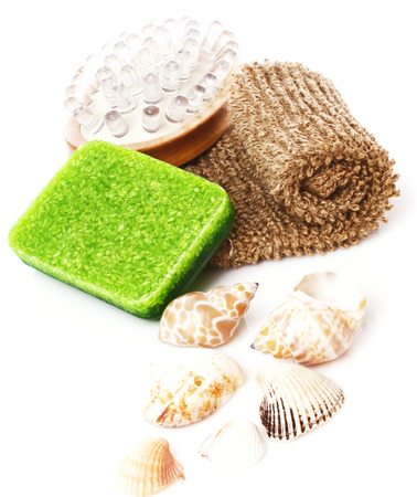 bast: Bathroom composition with natural soap, bast whisp and seashells, isolated. Stock Photo