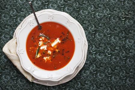 pita: Tasty Tomato soup with pita  - Stock image Stock Photo