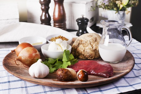 beef stroganoff: Assorted raw ingredients for Beef Stroganoff with mashed potatoes or celery - Stock image