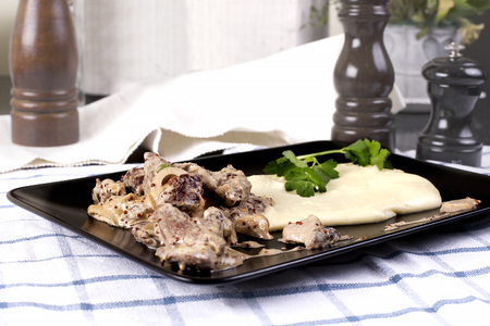 beef stroganoff: Beef Stroganoff with mashed potatoes or celery in a restaurant - Stock image