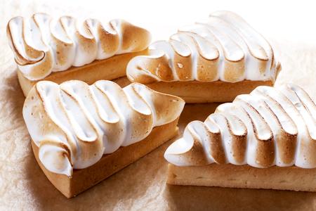 custard slice: Triangular cake with custard on the top.  Pie - Stock image Stock Photo