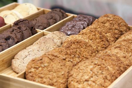 brocken: Set of homemade chocolate classic chip cookies. Stock Photo