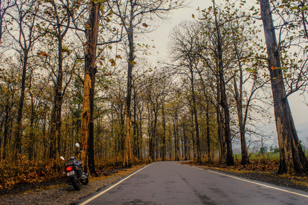 Dudhia,West Bengal,India : 3/11/2018 : Bike parked along the road towards Dudhia Editorial