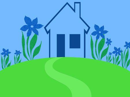 garden path: Blue plant house