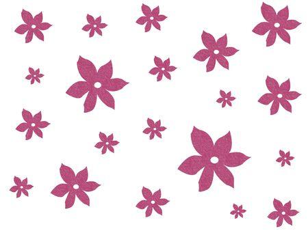 Pink floral design on white