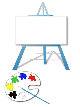 Art easel and paint palette photo