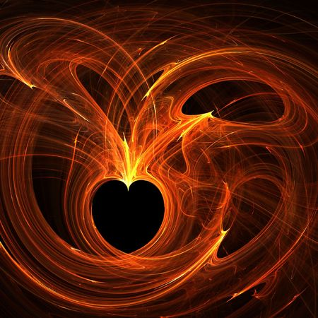 Burning wired hearts photo