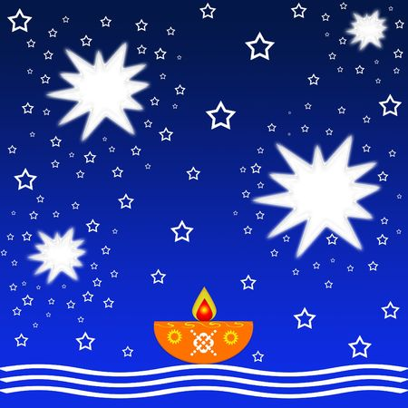 Indian diwali festival with lamp and stars Stock Photo