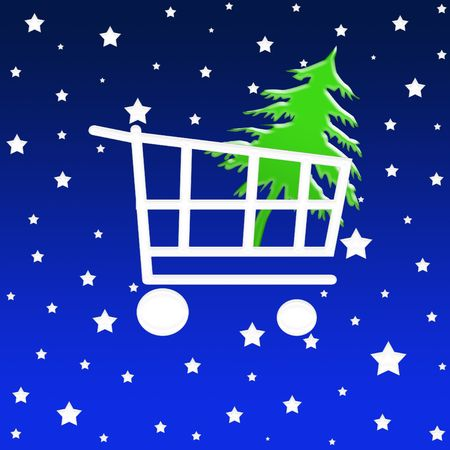Shopping cart with christmas tree