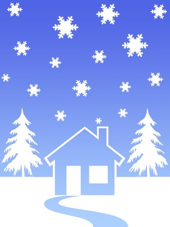 Christmas trees and house in winter